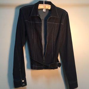 Designer Stretch Dark Denim Jacket by Loft